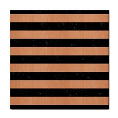 Stripes2 Black Marble & Natural Red Birch Wood Face Towel by trendistuff
