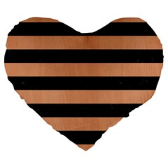 Stripes2 Black Marble & Natural Red Birch Wood Large 19  Premium Heart Shape Cushions by trendistuff