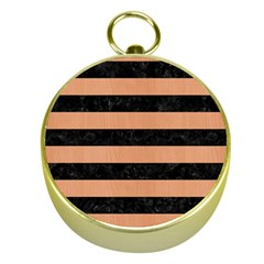 Stripes2 Black Marble & Natural Red Birch Wood Gold Compasses by trendistuff