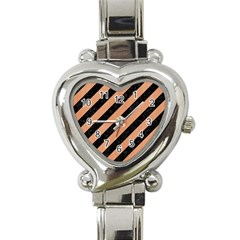 Stripes3 Black Marble & Natural Red Birch Wood Heart Italian Charm Watch by trendistuff
