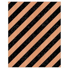 Stripes3 Black Marble & Natural Red Birch Wood Drawstring Bag (small) by trendistuff