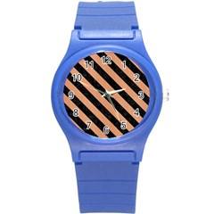 Stripes3 Black Marble & Natural Red Birch Wood (r) Round Plastic Sport Watch (s)