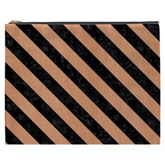 Stripes3 Black Marble & Natural Red Birch Wood (r) Cosmetic Bag (xxxl)  by trendistuff