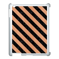 Stripes3 Black Marble & Natural Red Birch Wood (r) Apple Ipad 3/4 Case (white) by trendistuff