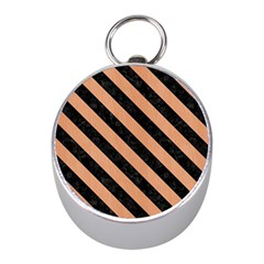 Stripes3 Black Marble & Natural Red Birch Wood (r) Mini Silver Compasses by trendistuff