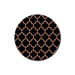 Tile1 Black Marble & Natural Red Birch Wood Rubber Coaster (round)  by trendistuff