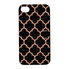 Tile1 Black Marble & Natural Red Birch Wood Apple Iphone 4/4s Hardshell Case With Stand by trendistuff