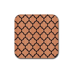 Tile1 Black Marble & Natural Red Birch Wood (r) Rubber Square Coaster (4 Pack)  by trendistuff
