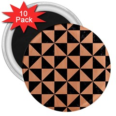 Triangle1 Black Marble & Natural Red Birch Wood 3  Magnets (10 Pack)  by trendistuff