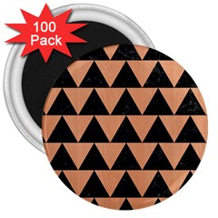 Triangle2 Black Marble & Natural Red Birch Wood 3  Magnets (100 Pack) by trendistuff