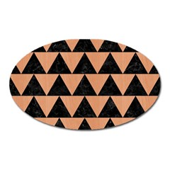Triangle2 Black Marble & Natural Red Birch Wood Oval Magnet by trendistuff