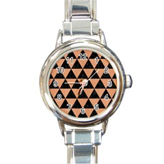 Triangle3 Black Marble & Natural Red Birch Wood Round Italian Charm Watch by trendistuff
