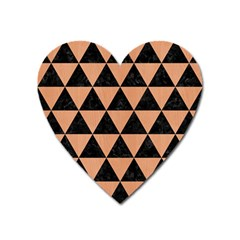 Triangle3 Black Marble & Natural Red Birch Wood Heart Magnet by trendistuff