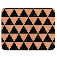 Triangle3 Black Marble & Natural Red Birch Wood Double Sided Flano Blanket (medium)  by trendistuff