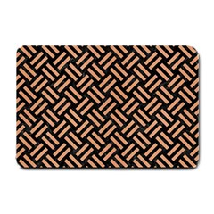 Woven2 Black Marble & Natural Red Birch Wood Small Doormat  by trendistuff