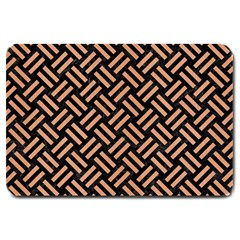 Woven2 Black Marble & Natural Red Birch Wood Large Doormat  by trendistuff