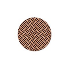 Woven2 Black Marble & Natural Red Birch Wood (r) Golf Ball Marker by trendistuff