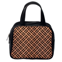 Woven2 Black Marble & Natural Red Birch Wood (r) Classic Handbags (one Side) by trendistuff
