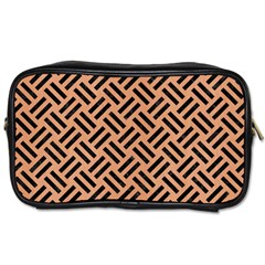 Woven2 Black Marble & Natural Red Birch Wood (r) Toiletries Bags by trendistuff