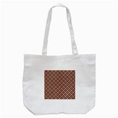 Woven2 Black Marble & Natural Red Birch Wood (r) Tote Bag (white) by trendistuff