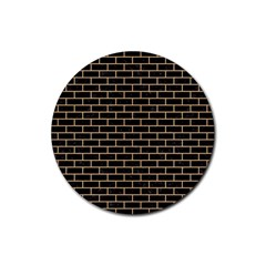 Brick1 Black Marble & Natural White Birch Wood Rubber Round Coaster (4 Pack)  by trendistuff