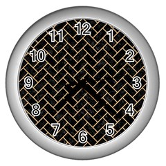 Brick2 Black Marble & Natural White Birch Wood Wall Clocks (silver)  by trendistuff