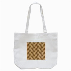 Brick2 Black Marble & Natural White Birch Wood (r) Tote Bag (white) by trendistuff