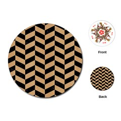 Chevron1 Black Marble & Natural White Birch Wood Playing Cards (round)  by trendistuff