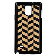 Chevron1 Black Marble & Natural White Birch Wood Samsung Galaxy Note 4 Case (black) by trendistuff