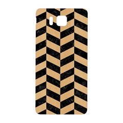 Chevron1 Black Marble & Natural White Birch Wood Samsung Galaxy Alpha Hardshell Back Case by trendistuff