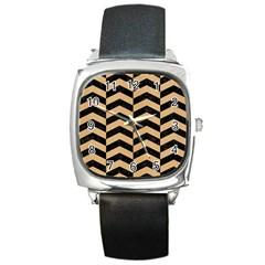 Chevron2 Black Marble & Natural White Birch Wood Square Metal Watch by trendistuff