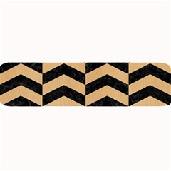 Chevron2 Black Marble & Natural White Birch Wood Large Bar Mats by trendistuff