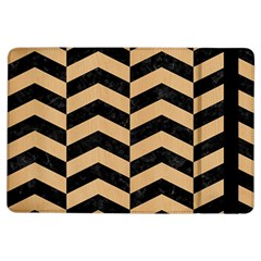 Chevron2 Black Marble & Natural White Birch Wood Ipad Air Flip by trendistuff