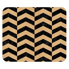 Chevron2 Black Marble & Natural White Birch Wood Double Sided Flano Blanket (small)  by trendistuff