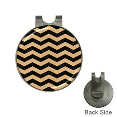 Chevron3 Black Marble & Natural White Birch Wood Hat Clips With Golf Markers by trendistuff