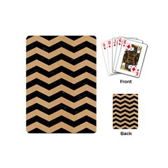 Chevron3 Black Marble & Natural White Birch Wood Playing Cards (mini)  by trendistuff