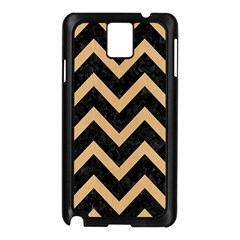 Chevron9 Black Marble & Natural White Birch Wood Samsung Galaxy Note 3 N9005 Case (black) by trendistuff
