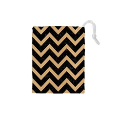 Chevron9 Black Marble & Natural White Birch Wood Drawstring Pouches (small)  by trendistuff