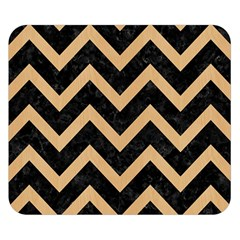 Chevron9 Black Marble & Natural White Birch Wood Double Sided Flano Blanket (small)  by trendistuff
