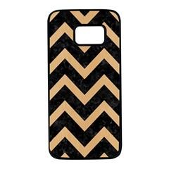 Chevron9 Black Marble & Natural White Birch Wood Samsung Galaxy S7 Black Seamless Case by trendistuff