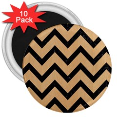 Chevron9 Black Marble & Natural White Birch Wood (r) 3  Magnets (10 Pack)  by trendistuff