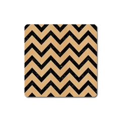 Chevron9 Black Marble & Natural White Birch Wood (r) Square Magnet by trendistuff