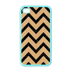 Chevron9 Black Marble & Natural White Birch Wood (r) Apple Iphone 4 Case (color)