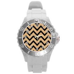 Chevron9 Black Marble & Natural White Birch Wood (r) Round Plastic Sport Watch (l) by trendistuff