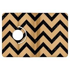 Chevron9 Black Marble & Natural White Birch Wood (r) Kindle Fire Hdx Flip 360 Case by trendistuff