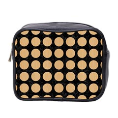 Circles1 Black Marble & Natural White Birch Wood Mini Toiletries Bag 2 Side by trendistuff