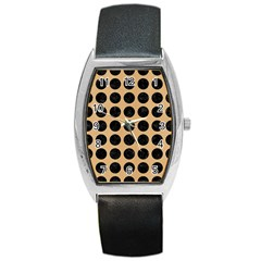 Circles1 Black Marble & Natural White Birch Wood (r) Barrel Style Metal Watch by trendistuff