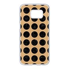 Circles1 Black Marble & Natural White Birch Wood (r) Samsung Galaxy S7 Edge White Seamless Case by trendistuff