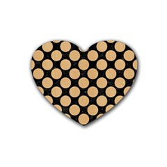 Circles2 Black Marble & Natural White Birch Wood Rubber Coaster (heart)  by trendistuff