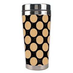 Circles2 Black Marble & Natural White Birch Wood Stainless Steel Travel Tumblers by trendistuff